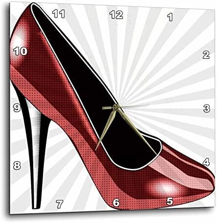 3dRose Dotted Red High Heel – Fashion – Shoes – Art – Wall Clock, 13 by 13-Inch DPP_54489_2