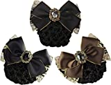 LiveZone (Pack of 3 Pcs) Women Professional Hair Bun Cover Net Snood Hairnet Bowknot Decor Barrette Hair Clip Bow Lace Flower Hair Accessories (3 Colors-Style F)