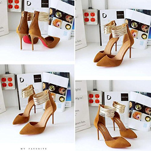 Suede With Sandals Heels High Summer Word and Tip Women Fine autumn Brown Buckle RvxEPx