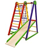 Dani LLC Indoor Wooden Playground for Kids Kid-Start Indoor Gym Sets Up Climbing Ladder Swing Slide and Rings (Kid-Start)