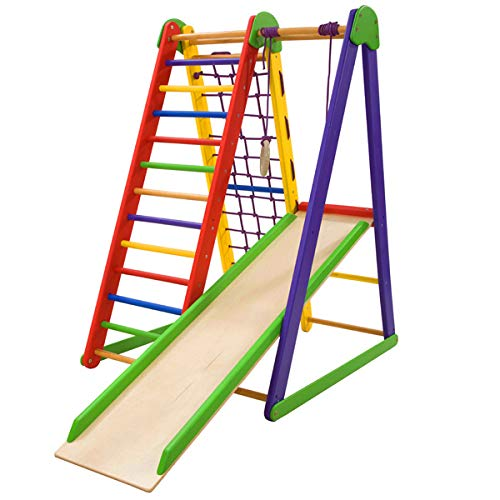 Dani LLC Indoor Wooden Sportcomplex Playground for Kids Home Jungle Kid-Start Indoor Gym Sets up Climbing Ladder Swing Slide and Rings (Natural Jungle Gym)