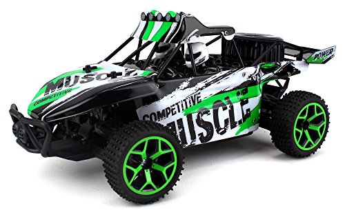 Competition Muscle Remote Control RC Truggy Truck Buggy 1:18 Scale 4 Wheel Drive 4WD Rechargeable w/ Working Front Suspension (Colors May Vary) Off Road Competition Buggy Engine