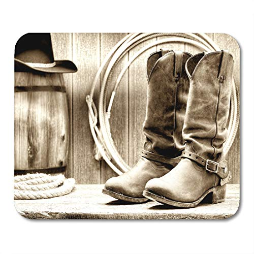 Emvency Mouse Pads American West Rodeo Cowboy Traditional Working Rancher Roper Boots Mouse Pad for notebooks, Desktop Computers mats 9.5