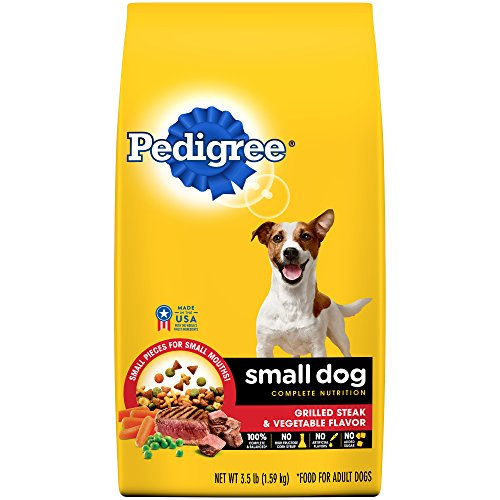 PEDIGREE Small Dog Complete Nutrition Adult Dry Dog Food Grilled Steak and Vegetable Flavor, (5) 3.5 lb. Bags
