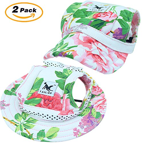 Mihachi Dog Hat - 2 Pack Pet Baseball Visor Cap with Ear Holes and Chin Strap for Sport Play in Summer for Small Dog and Cat,Medium Size