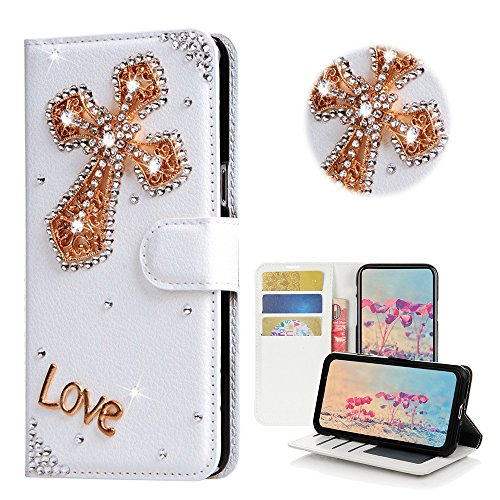 STENES Samsung Galaxy J7 J710 Case - STYLISH - 3D Handmade Bling Crystal Cross Desgin Wallet Credit Card Slots Fold Media Stand Leather Cover Case - (Cross Leather Fold)