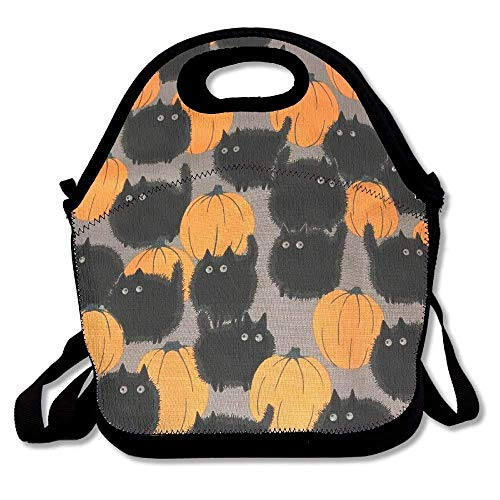 Halloween And Black Cat Punk Resuable Lunch Bags with Shoulder Strap for Kids School Lunch Box for Women,Back to School -