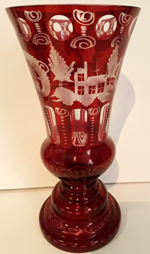 Vase Antique Oval Hand Cut Bohemian Glass Vase Ruby Red Mouth Blown Original Egermann Crystal Glass Flower Vase Table Decoration Height Approx 24 cm with opening 11,5 cm