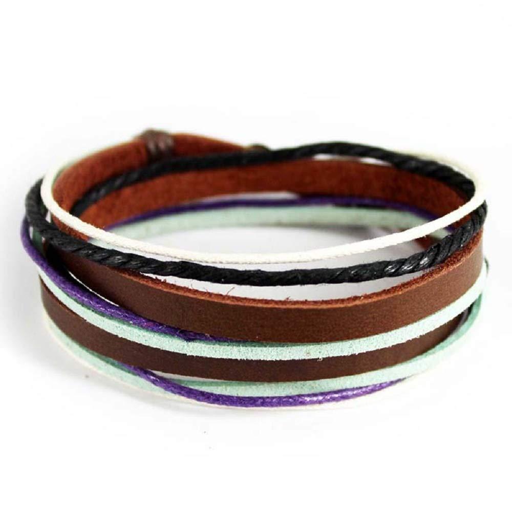 MJartoria Unisex PU Leather Hemp Cords Beaded Multi Strands Adjustable Wrap Bracelets Set (Style 1)