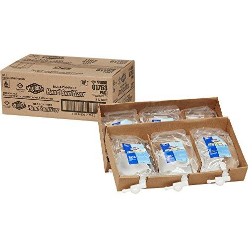 Clorox Hand Sanitizer Push Button Dispenser Refill, 1 Liter, 6 Refills/Case (01753)