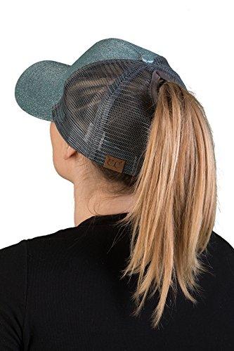 Baseball Complete Mint - H-209-54 Messy Bun High Ponytail Baseball Cap Trucker Hat Ponycap - Mint Glitter