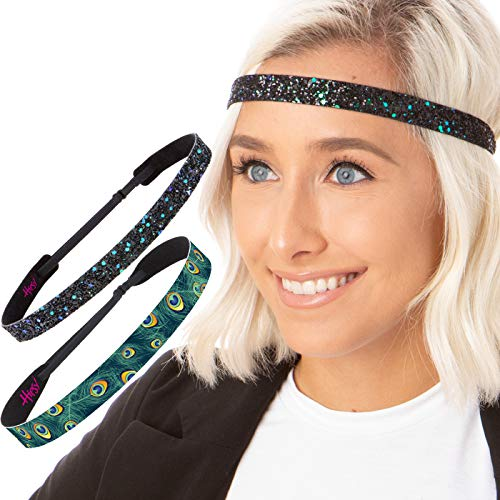 Hipsy Cute Fashion Adjustable No Slip Hairband Headbands for Women Girls & Teens (Colored Peacock Gift Pack 2pk)