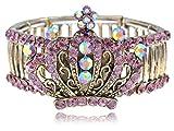 Alilang Womens Stretchy Golden Tone Pink Rhinestones Vintage Antique Crown Bangle Bracelet