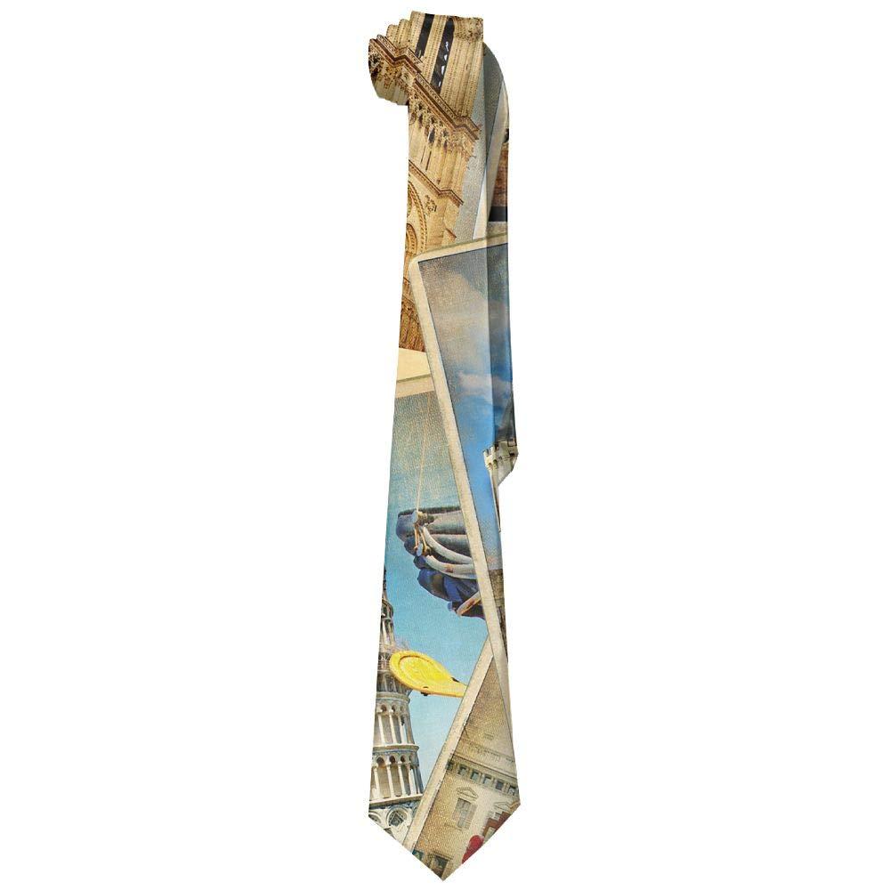 Men's Necktie Silk Polyester Travel Around Pictures Wide 3.14''(8cm) Gentleman Neck Ties Skinny by DIMANNU (Image #1)