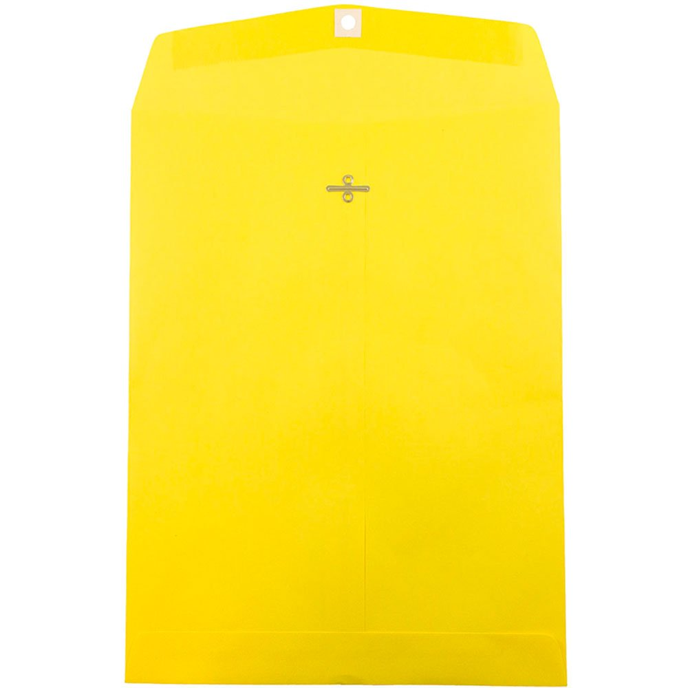 JAM PAPER 10 x 13 Open End Catalog Colored Envelopes with Clasp Closure - Yellow Recycled - 100/Pack by JAM Paper