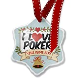 Add Your Own Custom Name, I Love Poker Christmas Ornament NEONBLOND