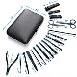 BST Manicure Nails Pedicure Set Pro Men's Nail 18 Grooming Cutting Travel Tools Case
