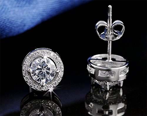 Effie Queen Hot Sale Women Earring Stud 0.75ct CZ Zircon Crystal Jewelry Stud Earrings Platinum Plated (Authentic Joker Costume)