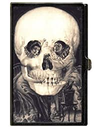 Skull Victorian Girls Goth Business Card Case Holder USA Made