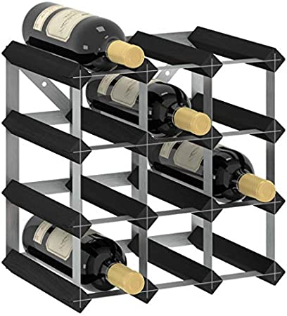 vidaXL Madera Maciza de Pino Botellero Armario Soporte Vino Vinoteca Estante Organizador Portabidones Colocación Decoración para 12 Botellas Negro