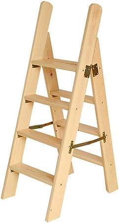 Escalera Portátil De 4 Peldaños, Escalera De Tijera, Escaleras De Escaleras De Madera para Sillas De Casa para Niños Y Adultos, Herramienta De Jardín para El Hogar: Amazon.es: Hogar