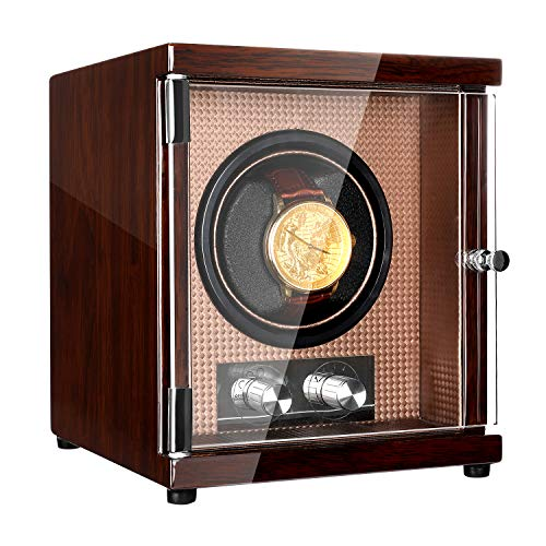 CHIYODA Watch Winder for Men's and Women's Automatic Watch with Quiet Mabuchi Motor,12 Rotation Modes, High Gloss Brown