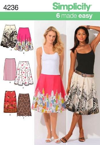 Simplicity 6 Made Easy Pattern 4236 Misses Slim Skirt, Full and Half Circle Skirts - Special Instructions Sizes 6-8-10-12-14