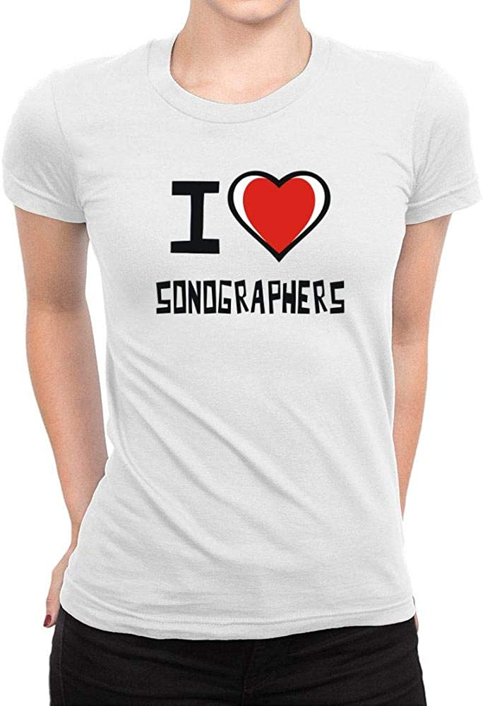 Idakoos I Love Sonographers Bicolor Heart Camiseta Mujer