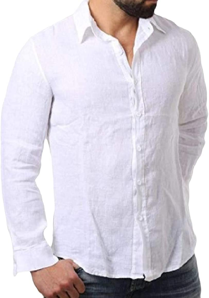 SportsX Mens Button Long-Sleeve Linen Pure Colour Blouses and Tops Shirts