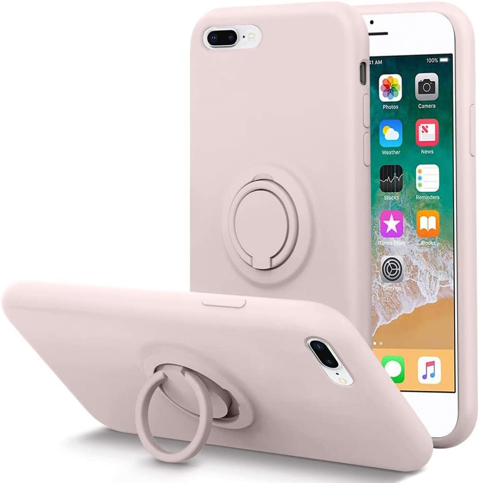 KUMEEK for iPhone 8 Plus Case/iPhone 7 Plus Case Fingerprint | Kickstand | Anti-Scratch | Microfiber Liner Gel Rubber Full Body Protection Liquid Silicone Case for iPhone 8 Plus/7 Plus-Pink Sand