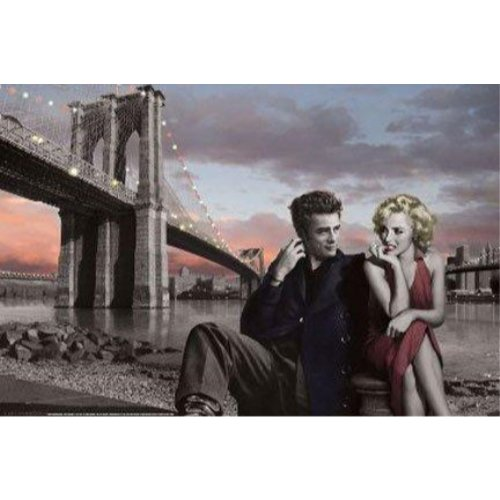 - Buyartforless Brooklyn Bridge with Marilyn and Monroe James Dean by Chris Consani 36x24 Art Print Poster Wall Decor Celebrity Movie Stars Romance Red Dress and Red Lips Icons Hollywood New York City