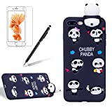 For Apple IPhone 7 Plus/8 Plus Phone Case,Girlyard New Fashion Girly Lucky 3D Cute [Papa Animal Pattern] Soft Silicone Practical Shockproof Slim Protective Back Case Cover for IPhone 7 Plus/8 Plus-Black Panda