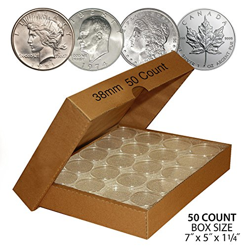 (50 MORGAN DOLLAR Direct-Fit Airtight 38mm Coin Capsule Holder (QTY: 50) with BOX)