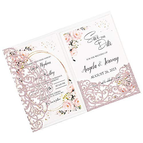 DORISHOME 25PCS Blank 4.7×7 Inch Glitter Rose Gold Wedding Invitation Kits Laser Cut Hollow Rose Pocket Wedding Invitations with Envelopes For Wedding Bridal Shower Engagement Invite