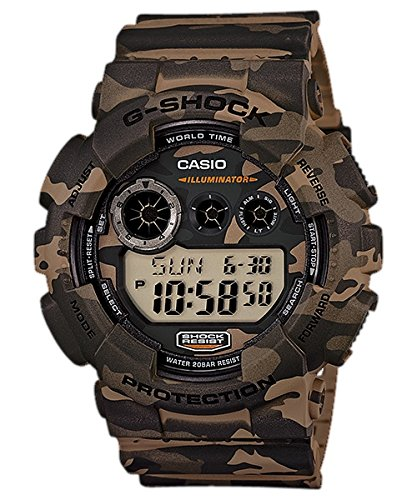 Amazon.com: Mens G-Shock Camouflage Watch GD120CM-5 Army Band Gold Tone Lab Diamond Bezel: Watches