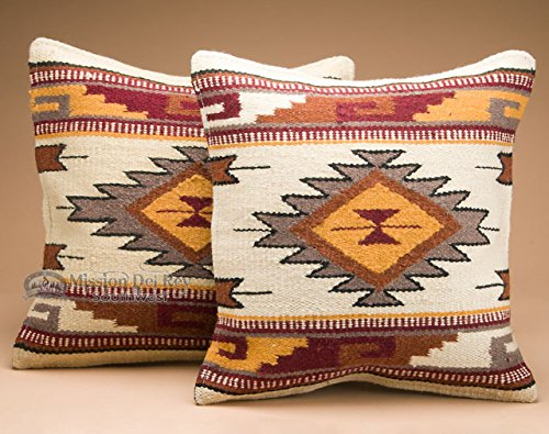 Mission Del Rey Southwest Pair of Wool Pillow Covers 18×18 – Cheyenne For Sale