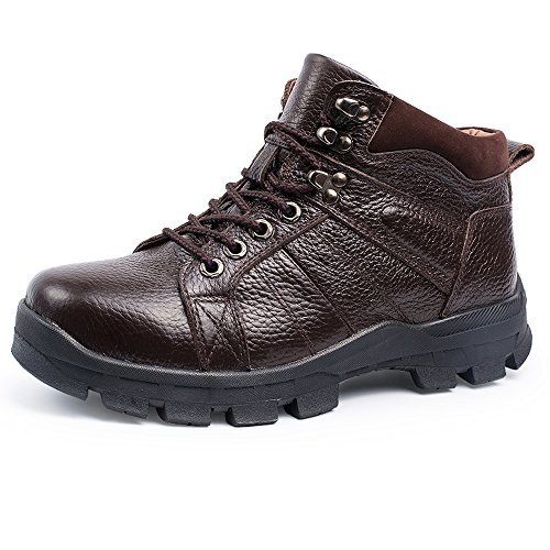 EnllerviiD Mens Winter Leather High Top Snow Boots Fur Lined Outdoor Shoes Wide Working Booties 860 Brown Synthetic Lined