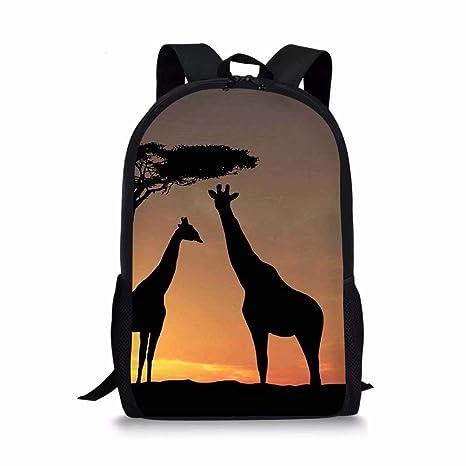 c57cf4bd0e5f Allcute Kids School Backpack Large Durable Elementary Preschool Book Bags  for Boys Girls Giraffe Print