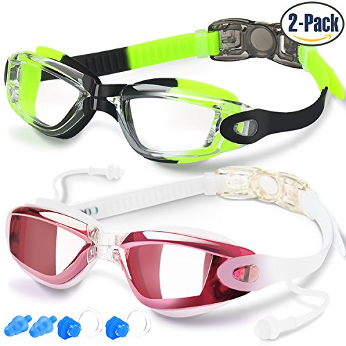 Swim Goggles, Pack of 2, Swimming Goggles for Adult Men Women Youth Kids Child, Triathlon Equipment, with Mirrored & Clear Anti-Fog, Waterproof, UV 400 Protection Lenses, Made by - Best Face For Glasses Different Shapes