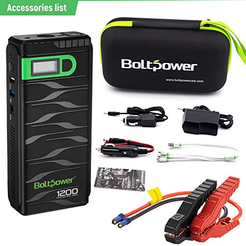 Bolt Power N02 1200 Amp Peak 12-Volt Car Battery Jump Starter for Light-Duty / Heavy-Duty Trucks, SUV, Compact / Mid-Size Cars, Motorcycle with Quick Charge 3.0 Portable Charger Power Pack by Bolt Power (Image #5)'