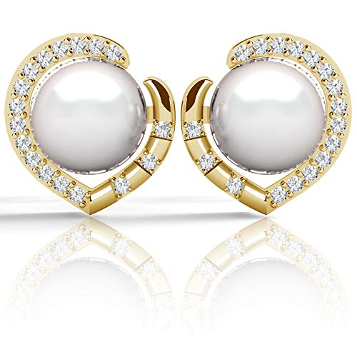 .925 Sterling Silver Freshwater Cultured Pearl Cubic Zirconia Heart Stud Earrings, 18K Gold Plated Silver