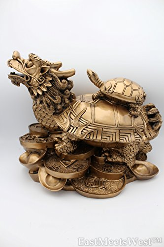 Huge High Grade Exquisite Chinese Vintage Bronze Feng Shui Inviting Wealth Lucky Dragon Tortoise w Child On Treasure Bed by EastMeetsWest