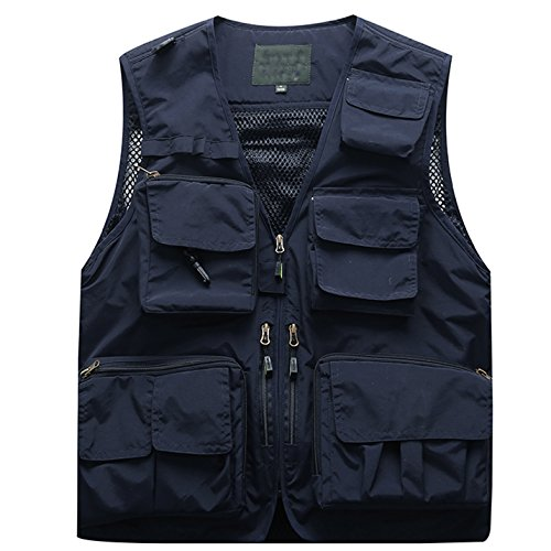 Flygo Men's Casual Lightweight Outdoor Travel Fishing Vest Jacket Multi Pockets (XXX-Large, Navy Blue)
