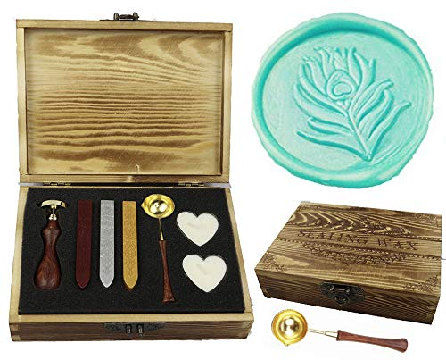 MNYR Peacock Feather Elegant Wooden Box Wax Seal Sealing Stamp Wedding Invitations Stationary Envelope Embellishment Seals Custom Wax Seal Sticks Wooden Handle Melting Spoon Heart Candle Gift Box Set