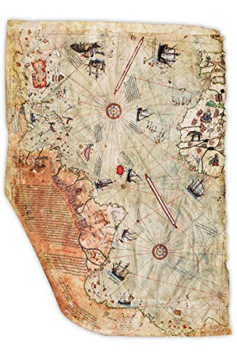 """Map Reproductions Historical (Historical Ottoman Empire Map Reproduction   Surviving Fragment   Shows Central & South American Coast   Complied by Ottoman Admiral & Cartographer Piri Reis in 1513   Made to Order   16"""" X 24"""")"""