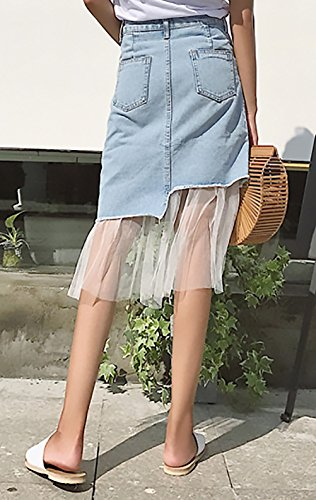 Jeansrock Damen Elegant Vintage High Waist Tüll Spleiß Irregular Asymmetrisch Casual Fashion Sommerrock Röcke Blau iNjEOHU7xD