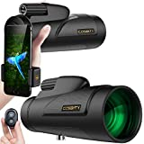 Monocular Telescopes, 12x50 Low Night Vision Waterproof Scope for Adults with Cell Phone Photography Adapter and Wireless Camera Shutter Remote Control for Bird Watching/Hunting/Camping/Travelling