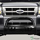 Topline Autopart Black Bull Bar Brush Push Front Bumper Grill Grille Guard With Skid Plate For 08-11/12 Ford Escape/Mazda Tribute/Mercury Mariner / 06-10 Mercury Mountaineer