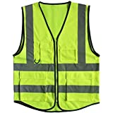 Misslo 5 Pockets High Visibility Zipper Front Breathable Safety Vest with Reflective Strips, Neon Yellow (Extra Large) by misslo reflective