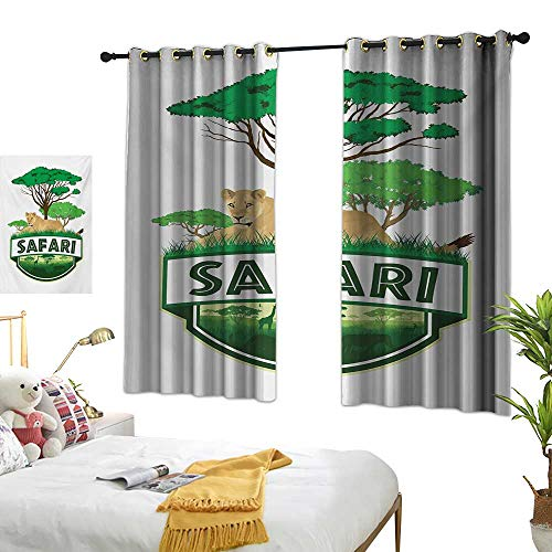 RuppertTextile Thermal Insulated Drapes for Kitchen/Bedroom African Savannah with Lion and Green Trees Wilderness Exotic Nature 55